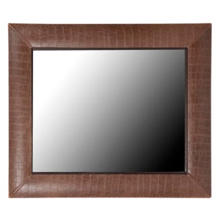 Vintage Cocoa Crocodile Leather Framed Mirror For Sale