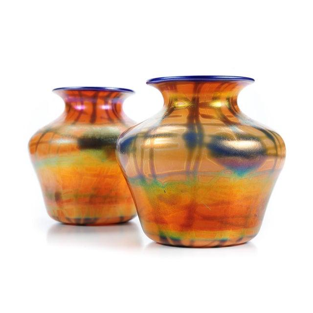 Art Nouveau Imperial Art Glass Heart & Vine Decor Vases- A Pair For Sale - Image 3 of 9