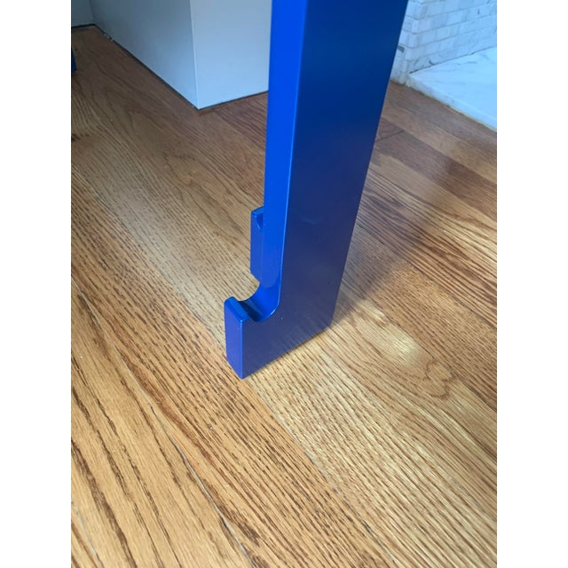 Art Deco Art Deco Bungalow 5 Jordan Blue Lacquered Wood Coffee Table For Sale - Image 3 of 5