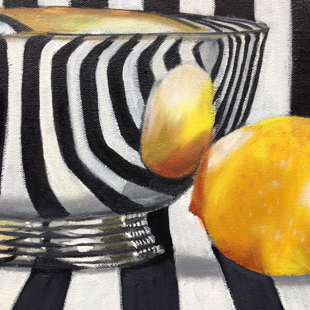 """Abstract Kathi Blinn """"Silver Bowl and Wine Glass"""" Contemporary Still-Life Acrylic Painting For Sale - Image 3 of 3"""
