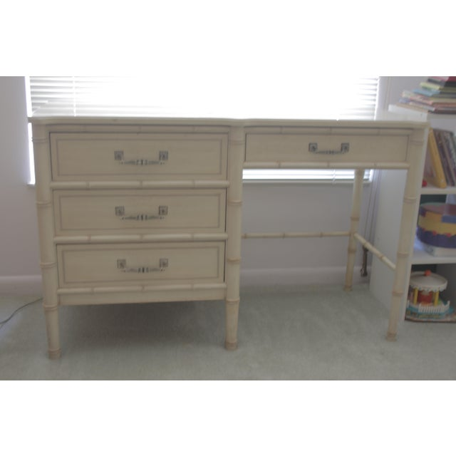 Faux Bamboo 1970's Chinoiserie Henry Link Faux Bamboo Writing Desk For Sale - Image 7 of 7