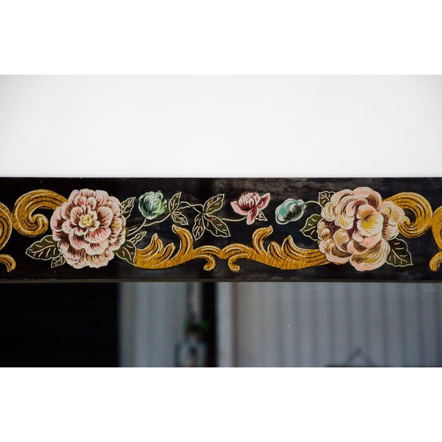 Italian Late 19th Century Antique Venetian Reverse Hand Painted Floral Wall Mirror For Sale - Image 3 of 13