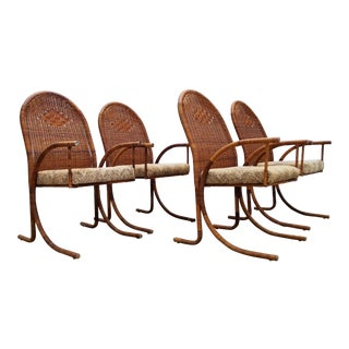 1970s Vintage McGuire Style Woven Wicker Arm Dining Chairs Set of 4 For Sale