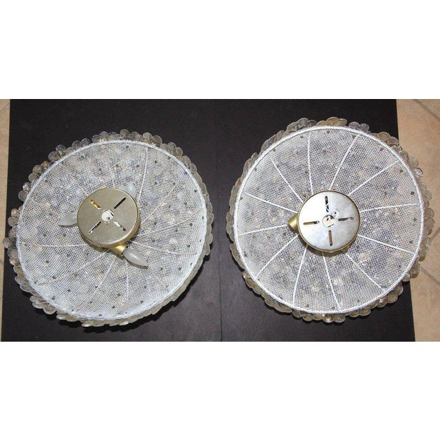 Gold 1970s Murano Glass Floral Pendant Flush Mount Lights - A Pair For Sale - Image 8 of 13