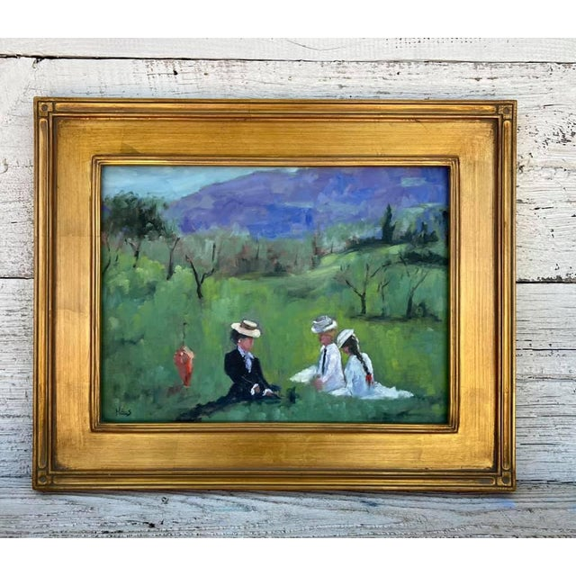 Green A Room With a View Original Landscape Oil Painting For Sale - Image 8 of 12