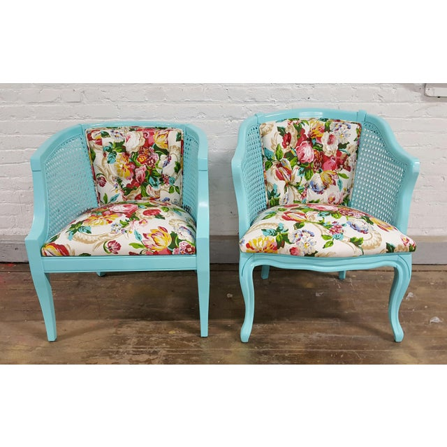 Mid-Century Blue Floral Chairs - A Pair - Image 7 of 10