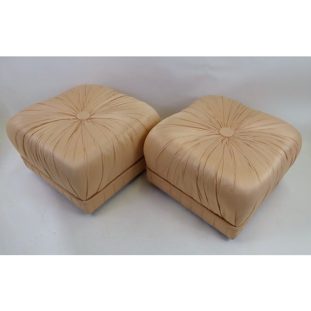 Pair of Hollywood Glam Poufs on Casters 1970s For Sale - Image 11 of 11
