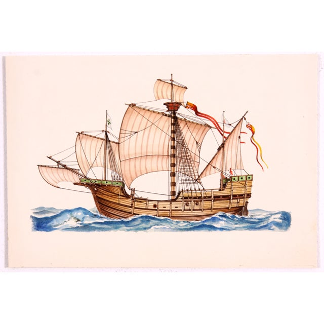 Meticulous detail and vibrant color characterize this stunning watercolor of the ship Santa Maria, the largest of the...