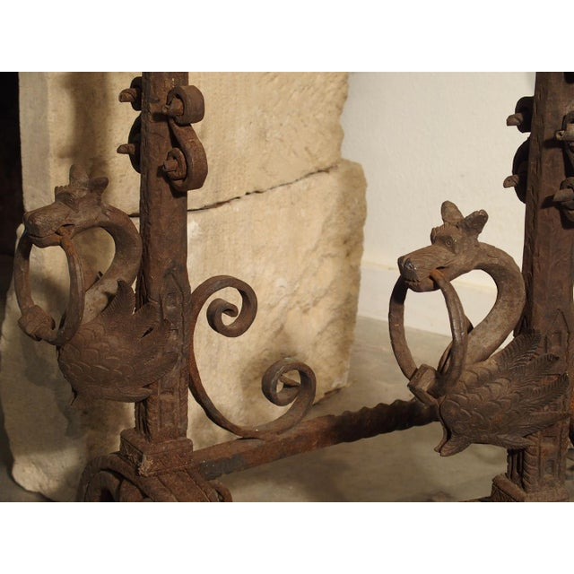 Brown Pair of Tall Antique Forged Andirons from Antwerp Belgium, Circa 1870 For Sale - Image 8 of 9