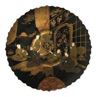Black Chinoiserie Footed Plate