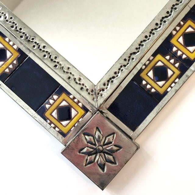Metal Vintage Mexican Blue and White Handmade Tile Mirror For Sale - Image 7 of 12