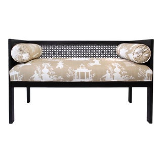 Mid-Century Cane Bench Settee Newly Upholstered in Vintage Reverse Toile Chinoiserie Linen For Sale