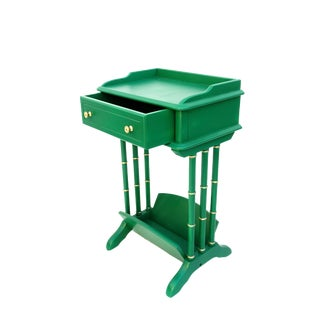 Vintage Faux Bamboo Side Table + Magazine Rack + Drawer | Entry Table || Green & Gold Modern Hollywood Regency End Table For Sale