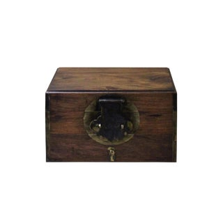 Chinese Small Brown Wood Rectangular Storage Jewelry Box Chest For Sale