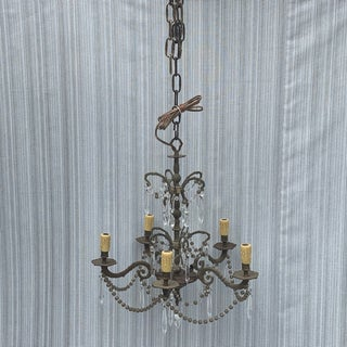 Vintage 5-Light Chandelier With Smoke Glass Beads and Clear Crystals Preview