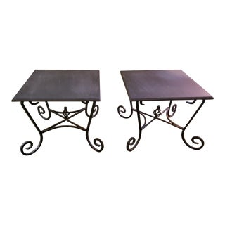 1990s Heavy Wrought Iron Tables With Custom Slate Tops With Beveled Edges - a Pair For Sale