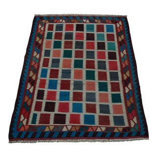 "Vintage Persian Shirazi Kilim - 3'6"" x 4'8"""