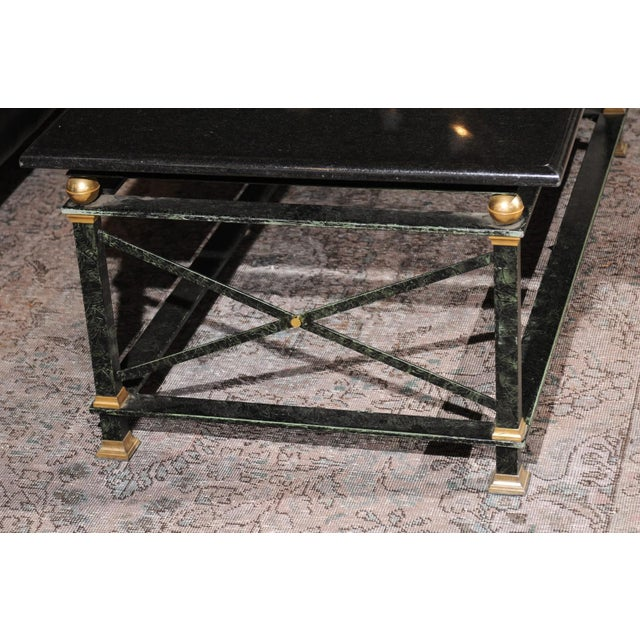 French Parisian Coffee Table with Black Marble Top, Iron Base and Brass Accents For Sale - Image 10 of 12