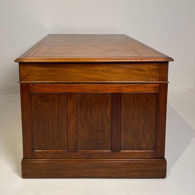 Mid-Century Modern Campaign Mahogany Desk, Denmark Circa 1910 For Sale - Image 3 of 9