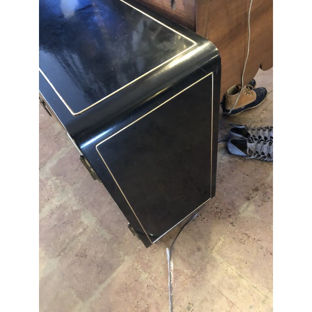 1970s Black Lacquer Mastercraft Console Cabinet For Sale - Image 5 of 13