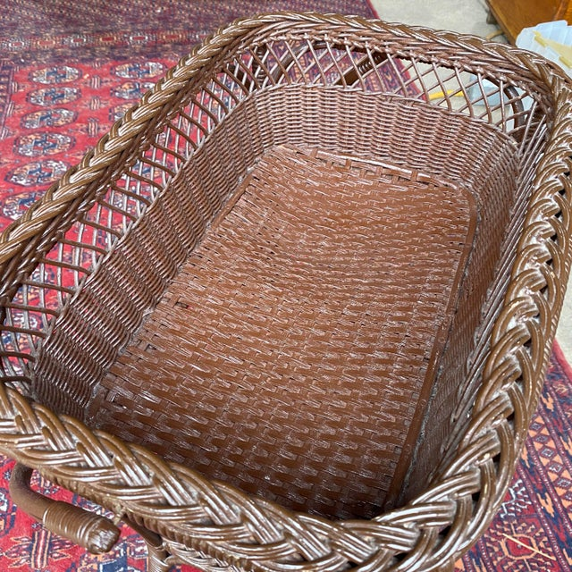 Vintage Victorian Wicker Rattan Basket Sewing Stand For Sale - Image 9 of 11