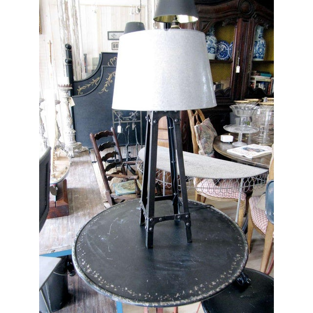 Charming industrial iron lamp with galvanized metal shade. Also have mate floor lamp.