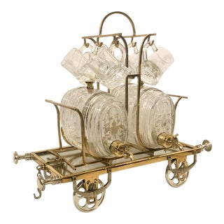 Antique Whiskey Cart With Glasses, Over 100 Years Old. For Sale