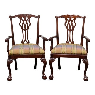 Councill Mahogany Chippendale Ball in Claw Dining Captain's Armchairs - Pair For Sale