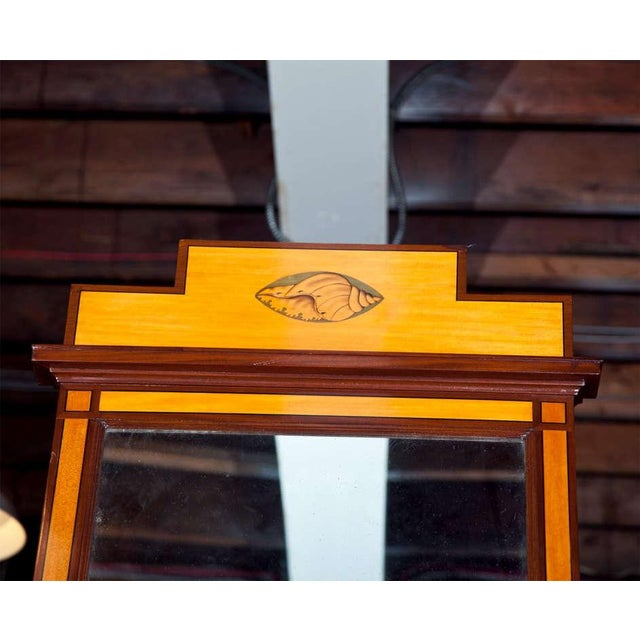 Nautical Antique Pier Satinwood Mirrors Mahogany Trim Banding Inlaid Decorated Pediment - a Pair For Sale - Image 3 of 6