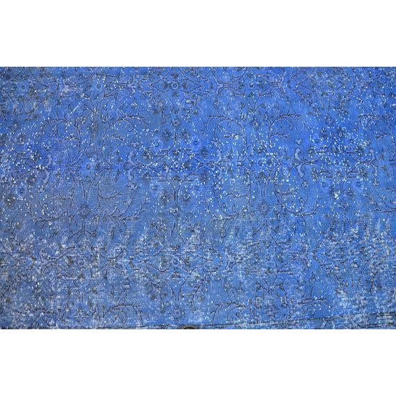 """Blue Overdyed Rug -- 5'10"""" x 9'4"""" For Sale - Image 4 of 6"""