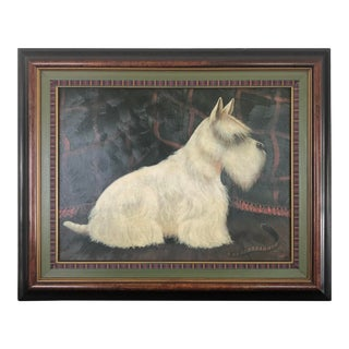 White Scottish Terrier Painting by Paul Stagg, Framed For Sale