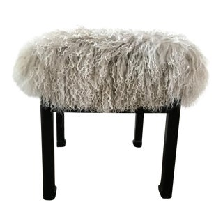 1970s Vintage Mongolian Lamb Covered Stool For Sale