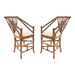 English Charles II Oak Triangular Chairs For Sale