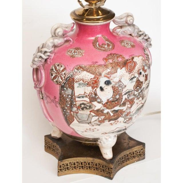 Metal Meiji Era Japanese Satsuma Vase as Lamp For Sale - Image 7 of 13