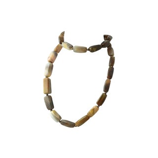 Long Banded Agate Bead Necklace For Sale