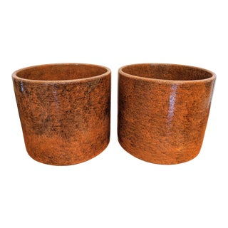 Boho Chic Midcentury Modern Gainey Ochre Glazed Planters, a Pair For Sale