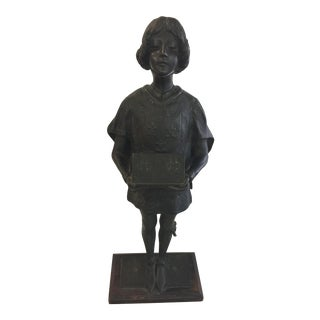 Antique Bronze Page Boy by Leon Noel Delagrange For Sale