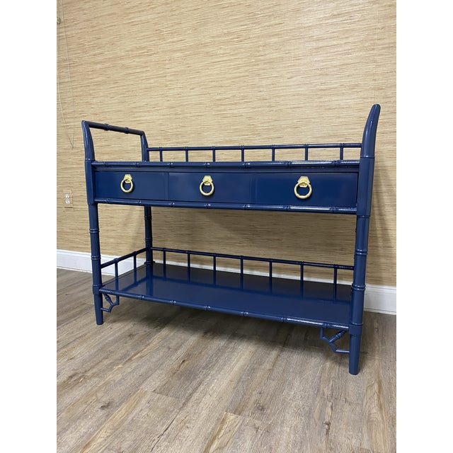 Vintage Thomasville Allegro faux bamboo Bar Cart or Server Professionally Lacquered Navy Blue (Sherwin Williams Naval)...