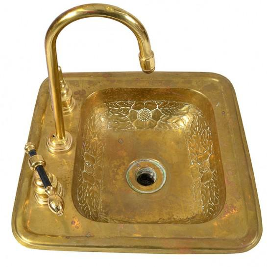 1920s Art Deco Brass Sink For Sale - Image 9 of 12