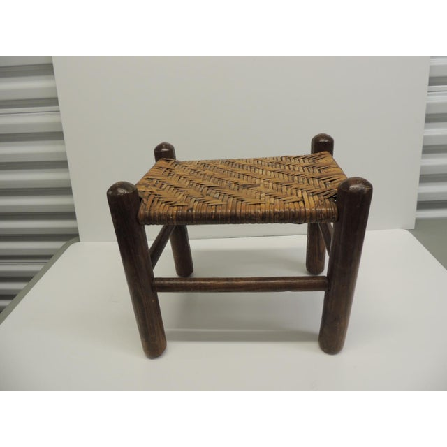 Vintage Country Wood and Rattan Woven Seat with Four Legs Adirondack Style For Sale - Image 4 of 4