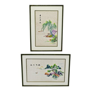 Vintage Framed Asian Embroidery on Silk - a Pair For Sale