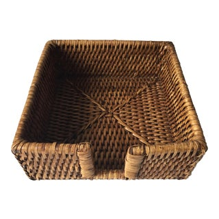 Vintage Rattan Notepaper Holder For Sale