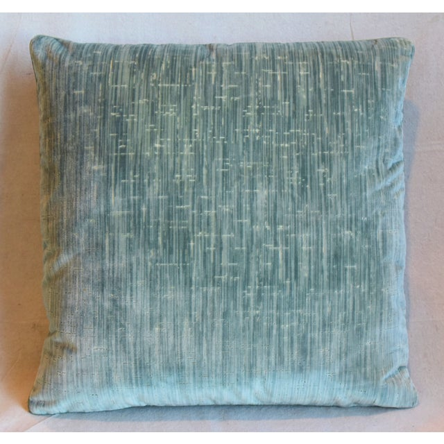 """Contemporary Clarence House Velvet Fabric Feather/Down Pillows 21"""" Square - Pair For Sale - Image 3 of 13"""