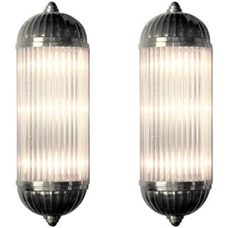 French Modernist Clear Glass Rod Sconces by Petitot - a Pair For Sale