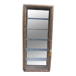 Creazioni Artistiche Italian Gilt Wood Hanging Mirrored Curio Cabinet For Sale