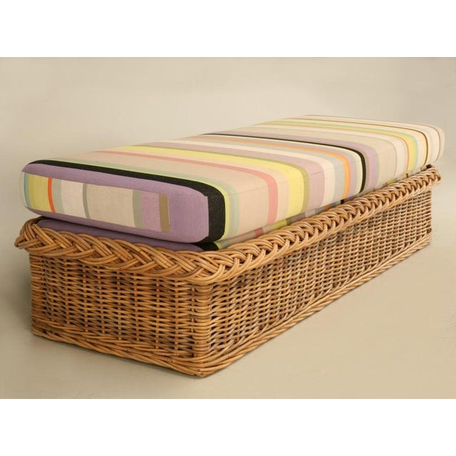 "Vintage Italian Les Toiles Du Soleil Upholstered ""Wicker Works"" Bench - Image 3 of 11"