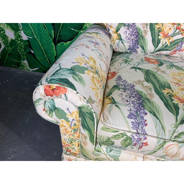 Hollywood Regency Floral Upholstered Sofas by Robb and Stucky - A Pair For Sale - Image 3 of 10
