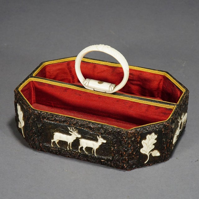 Antique Black Forest Basket With Carved Horn Plaques, Ca. 1860 For Sale - Image 4 of 12