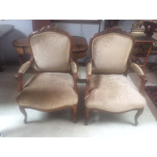 Late 19th Century Walnut & Velvet French Arm Chairs- A Pair Preview