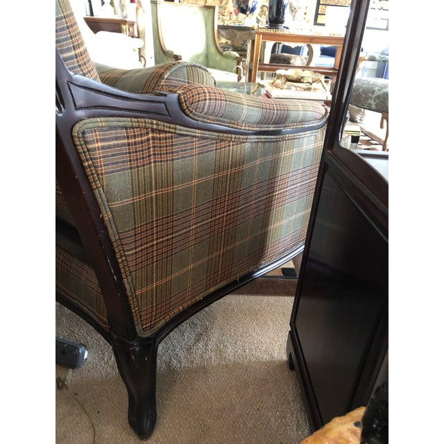 Blue Ralph Lauren Carved Mahogany and Plaid Upholstered Club Chair For Sale - Image 8 of 9